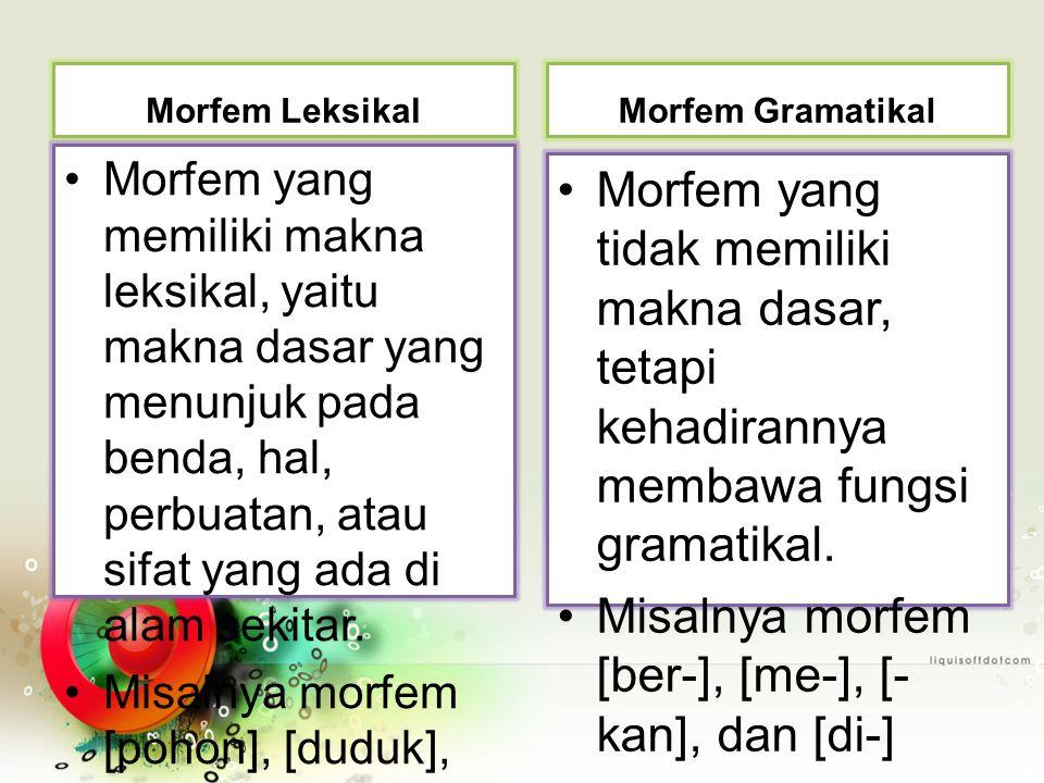 Misalnya morfem [ber-], [me-], [-kan], dan [di-]